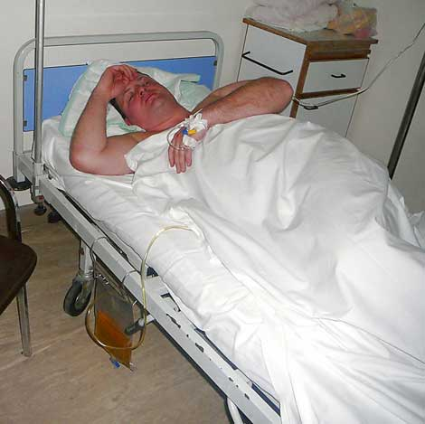 Conor O'Dwyer in hospital bed