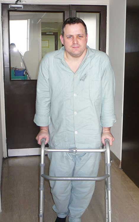 Conor O'Dwyer on crutches