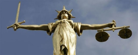 Scales of Justice on the Dome of the Old Bailey – London's Central Criminal Court