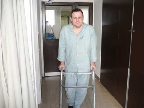 Conor O'Dwyer pictured in hospital, recovering from the alleged assault