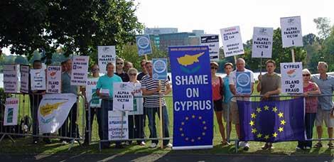 Alpha Panareti protestors at the NEC in Birmingham